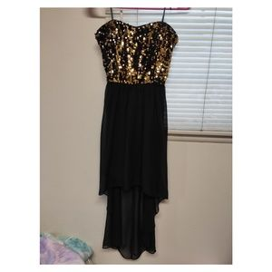 High low sequins strapless formal dress